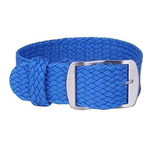 MGHN Correa de Reloj de Nailon 16 mm 18 mm 20 mm 22 mm Color sólido de Nylon Trenzada Pulsera Correa de Tela Trenzada Correa Hebilla de cinturón (Band Color : Blue, Band Width : 20mm)