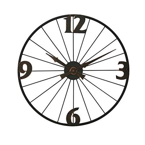 LZC Wanduhr Europäische Retro Wanduhr Schmiedeeisen Kreative Uhr Stumm Quarzuhr Fahrradfelge Dekorative Uhr Haus Dekoration (Color : A)