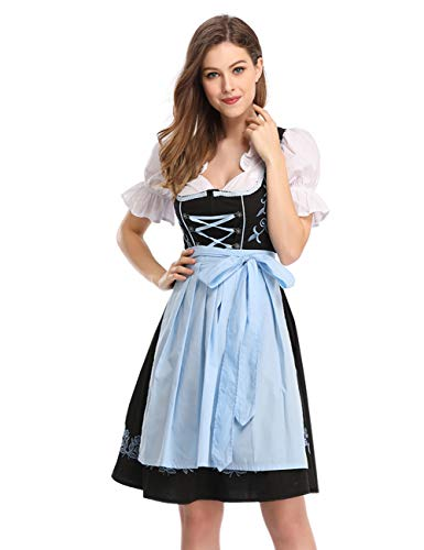 KOJOOIN Trachtenkleid Damen Dirndl Kurz mit Stickerei Exklusives Designer für Oktoberfest - DREI Teilig: Kleid, Bluse, Schürze Schwarz- Hellblau 38