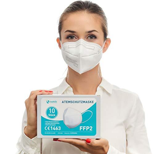 Health2b FFP2 Maske CE Zertifiziert [10 Stück] CE1463 Atemschutzmaske Mundschutz DERMATEST® sehr gut