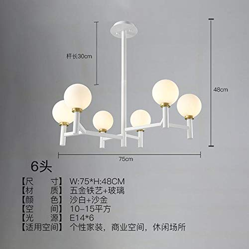 Candelabro LED blanco dorado negro posmoderno luces colgantes de la sala de...