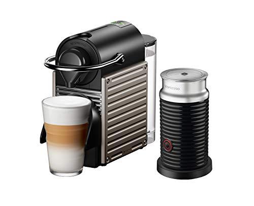 Krups XN305T Nespresso Pixie - Cafetera de cápsulas y Aeroccino Bundle (1260 W, capacidad del depósito de agua: 0,7 l, presión de la bomba: 19 bar), color titanio
