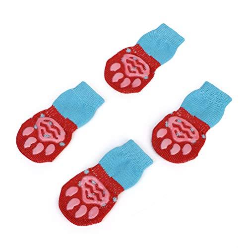 Weesey Anti-slip sokken voor honden en katten, 2 paar, creatieve sokken voor katten voor honden, kousen voor honden, tractiecontrole, antislip, voor gebruik binnenshuis