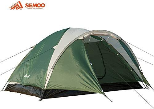 Semoo - leichtes Zelt mit Tragetasche für 4 Personen - Kuppelzelt - doppelwandig - 3-Jahreszeiten Zelt - Beige/Grün