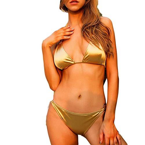 Mujer Bikini Sexy Tanga Lentejuelas Doradas, Brillantes, Material Liso,Vendas, Sexy y Encantadora,Traje de Baño Playa para Mujeres Bikini con Relleno Verano Vacaciones Natación Conjunto