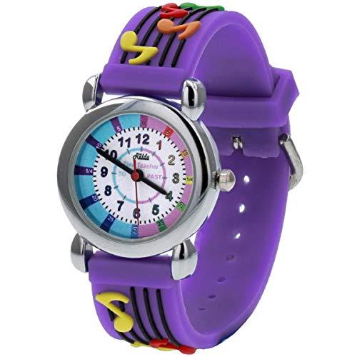 Relda Reloj de pulsera con correa de silicona para niñas y niños con diseño de Time Teacher en 3D, con diseño de notas musicales