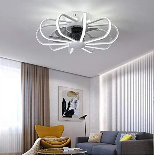 Ventilador de techo con lámpara, lámpara de techo ventilador de techo con iluminación LED moderno ventilador de techo e invisible ventilador de techo luz viento ajustable A