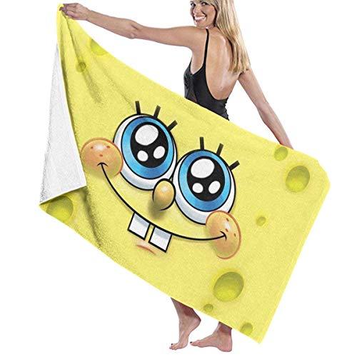 FSTGF Bonita toalla de playa de algodón de Bob Esponja absorbente de microfibra toallas de baño de secado rápido para mujeres, niños