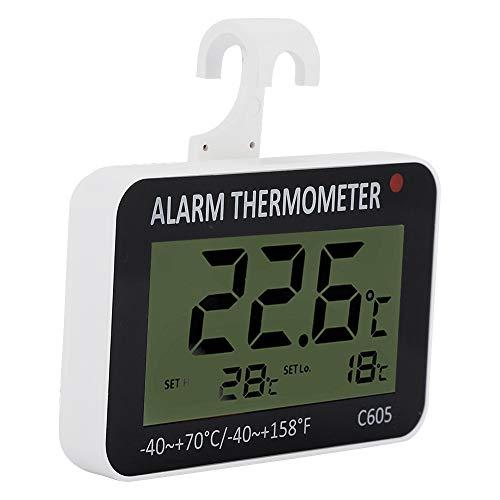 Jiawu Termómetro de congelador Resistente al Calor, termómetro LCD Duradero, Alarma automática, Advertencia de Temperatura de Restaurante de Cocina para visualización de Temperatura