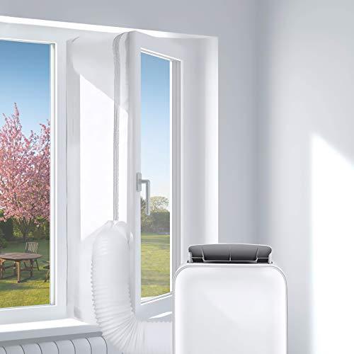 Klimaanlagen Fensterabdichtung, Ciovou Air Conditioner Window Seal, Hot Air Stop zum Anbringen an Dach-/Flügelfenster, Türabdichtung für mobile Klimageräte passend zu allen Schlauchgrößen, Weiß 400cm