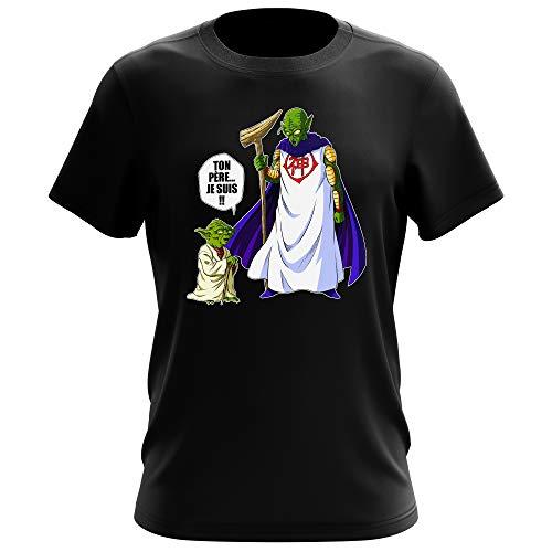 T-Shirt Noir Dragon Ball Z - Star Wars parodique Yoda et Dieu : Ton père. Je suis !! (Parodie Dragon Ball Z - Star Wars)