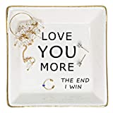 'Love You More' Trinket Dish, Gifts for Women Ceramic Ring Dish with Golden Trim, Jewelry Dish Gifts for Mom