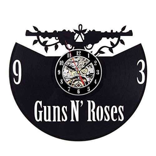 wtnhz LED-Guns Rose Disco de Vinilo Reloj de Pared Diseño Moderno Tema Musical Slash Etiqueta 3D Retro CD Reloj Reloj de Pared Decoración del hogar