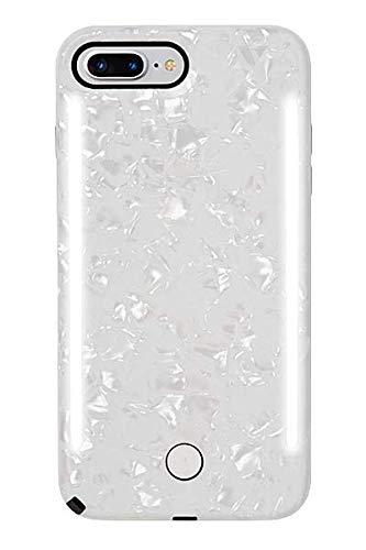 LuMee Duo Handyhülle, perlweiß   Vorder- und Rückseite LED-Beleuchtung, Variabler Dimmer, Stoßdämpfung, Bumper, Selfie Phone Case   iPhone 8+ / iPhone 7+ / iPhone 6s+ / iPhone 6+