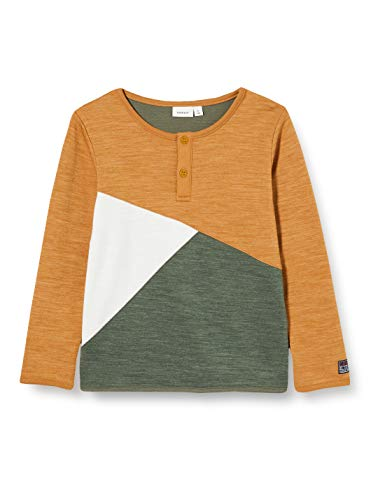 NAME IT Jungen NMMWUPPO Wool/CO LS TOP XX Pullover, Medal Bronze, 104