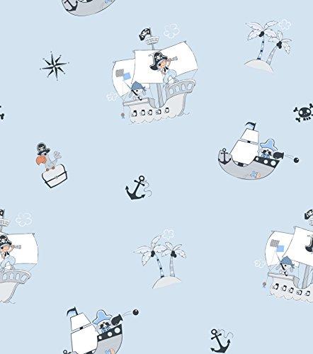 Rasch Textil Papiertapete Tapete - Kollektion Bimbaloo 2- 330112 hell Blau Piraten