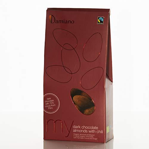 Mandorle Biologiche al Cioccolato Fondente e Peperoncino - Senza Glutine e Vegan Friendly - Astuccio da 100g