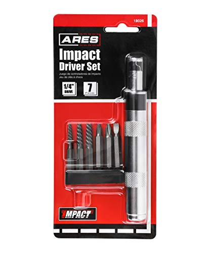 ARES 18026-1/4-Inch Drive Manual Reversible Impact Driver - Includes 6-Piece Flathead, Phillips, and Spiral Screw Extractor Bit Set - Disengage Rusted Fasteners or Frozen Bolts - Compact Design