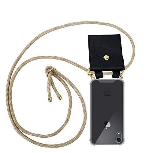 Cadorabo Handy Kette für Apple iPhone XR in GLÄNZEND BRAUN - Silikon Necklace Umhänge Hülle mit Gold Ringen, Kordel Band Schnur & abnehmbarem Etui – Schutzhülle