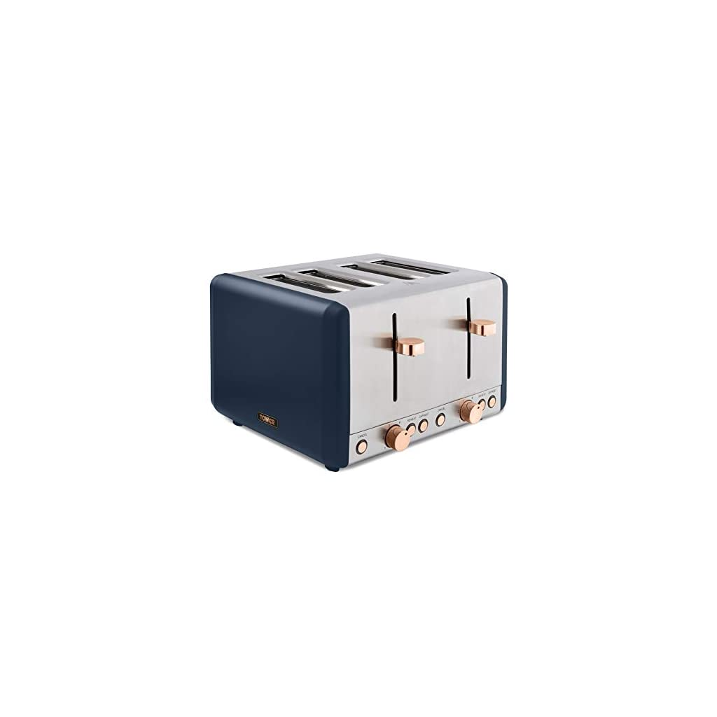 Tower Cavaletto 4 Slice Toaster 1800W - Midnight Blue/Rose Gold