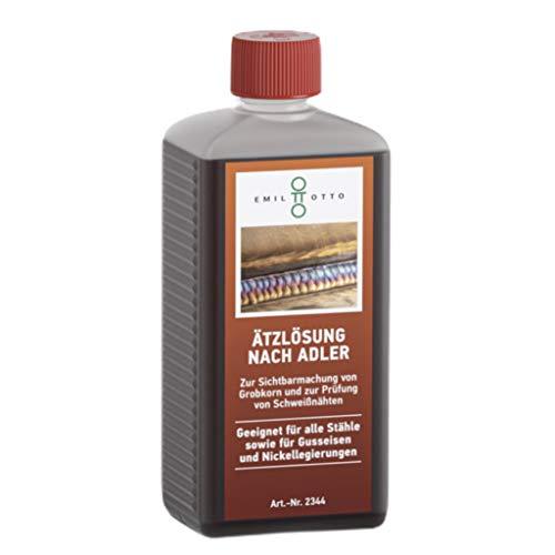 Ätzlösung nach Adler/Ätzmittel nach Adler von Emil Otto, 500 ml in kindersicherer Flasche, zur Sichtbarmachung von Grobkorn und zur Prüfung von Schweißnähten