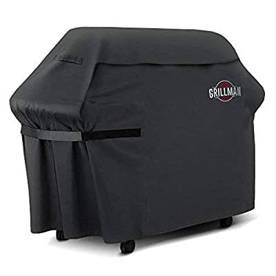 """Grillman Premium (60 Inch) BBQ Grill Cover, Heavy-Duty Gas Grill Cover for Weber, Brinkmann, Char Broil etc. Rip-Proof, UV & Water-Resistant (60"""" L x 28"""" W x 44"""" H, Black)"""