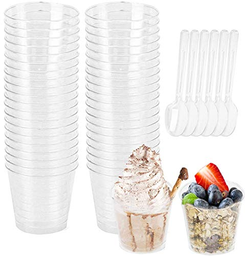 Fasmov 100 Pack 5 Oz Plastic Dessert Tumbler Cups Mousse Cups with Dessert Spoons