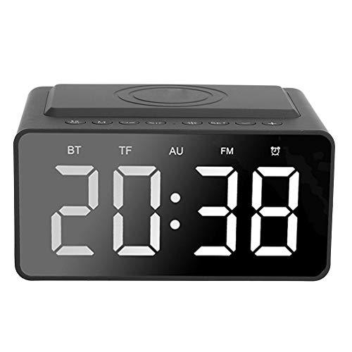 Altavoz Multifuncional Bluetooth 5.0 LED con Función de Reloj Despertador Digita y Carga Inalámbrica, Alarma Dual con Pantalla Led de Brillo Ajustables, Altavoz Bluetooth, Radiodespertador(黑色)