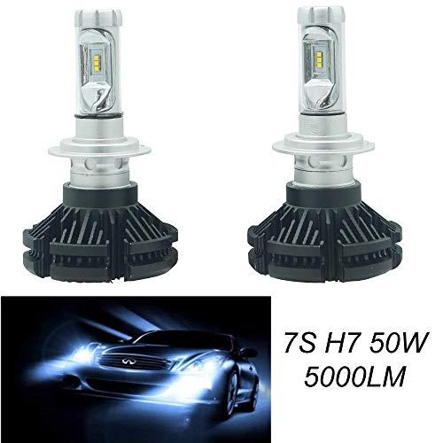 DRIWEI Par de bombillas de repuesto para coche LED 7S H7 blanco frío 6000 K faros 50 W bombillas vehículos lámpara de sustitución halógena y xenón 5000 lúmenes luces faros blancos
