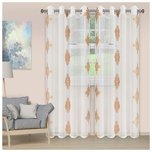 """SUPERIOR Quality Lightweight Embroidered Damask Sheer Stainless Grommets Window Treatment Curtain Panel (Set of 2) 52"""" x 108"""" - Gold"""