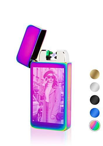 TESLA Lighter T10 Lichtbogen Feuerzeug mit Photosensor, Plasma Double-Arc, elektronisch wiederaufladbar, aufladbar mit Strom per USB, mit Fotogravur, mit Ladekabel, Regenbogen