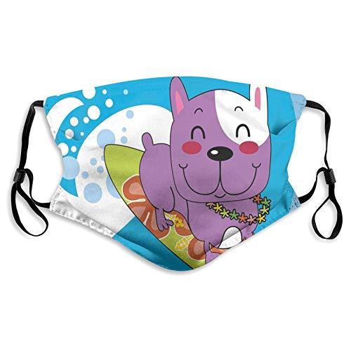Protector de boca y nariz de tela, lindo bulldog francés surf y sonriendo Happy Adventure Exotic Dog Dibujos animados reutilizables, funda protectora de media cara, lavable, longitud ajustable (S)
