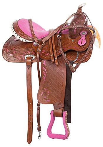 Wonder Wish Western Crystal Bling Barrel Racing Leather Horse Saddle Free TACK Set (16 Inches Seat)