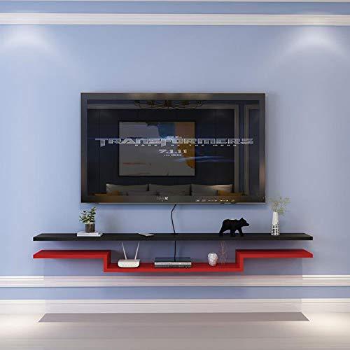 Schrank TV 140 cm * 20 cm Hängeboard Wohnwand, Tv Lowboard Wandmontage Mit Faecher, Echtholz Matt Factory Stile, Für CD-Regal, DVD, Router, Desktop-Dekoration,Black and red