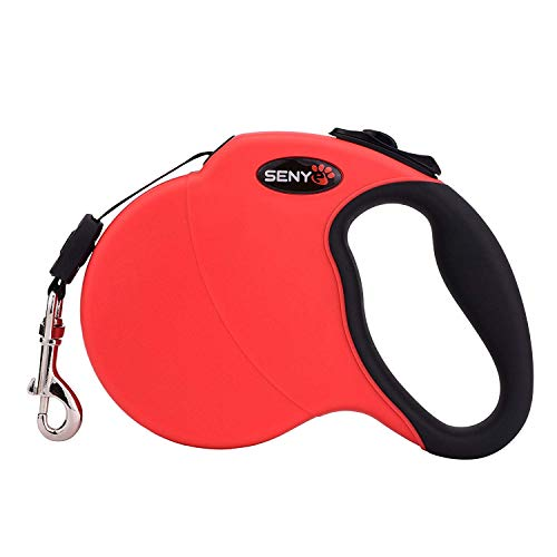 SENYE Retractable Dog Leash,16ft Dog Traction Rope for Large Medium Small Dogs,Break & Lock System (Red)