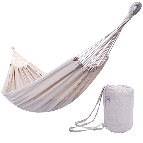 ONCLOUD Extra Long and Wide Double Hammock for Travel Camping Backyard, Porch, Outdoor or Indoor Use, Carrying Pouch Included (Beige)