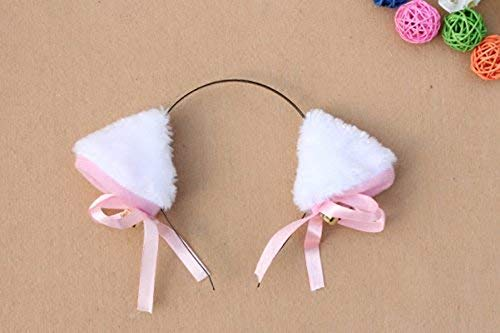 『Animal Cosplay Costume Cat Ear Headband For Halloween Fancy Dress Costume Party with Bell White』の1枚目の画像