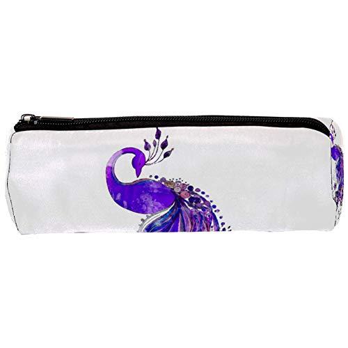 Acuarela pavo real púrpura pájaro patrón estuche estuche bolsa lindo bolígrafo cremallera bolsa bolsa para papelería viaje escuela estudiante suministros