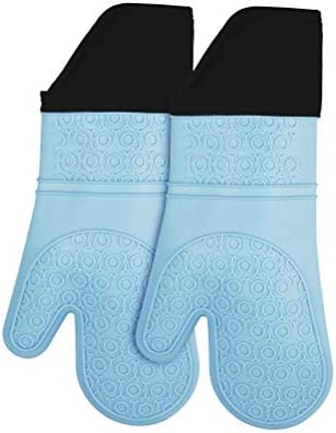 MASTER QUEEN Silicone Oven Mitts Heat Resistant Non Slip Long Oven Gloves with Cotton Lining product image