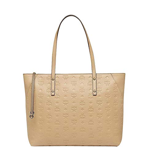 MCM Women's Beige Leather Zip Tote Bag MWP7AKM51IE001 (Medium)