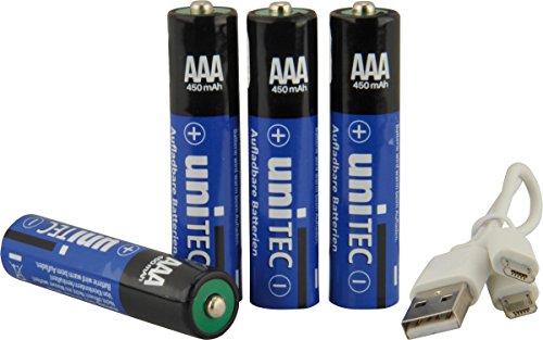 Oplaadbare batterij via micro-USB, 4 x AAA incl. oplaadkabel met 2 USB-poorten.