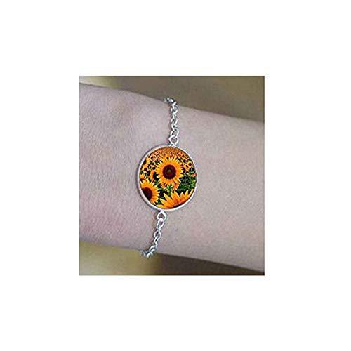 bab Gargantilla con colgante de luna y cabujón de cristal de la mejor amistad, 4 pulseras, con mensaje positivo