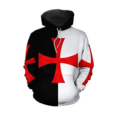 better daily life Sudadera con Capucha de Knights Templar para Hombre Sudadera con Capucha de Armadura Medieval Vintage Camiseta Cruzada de Traje
