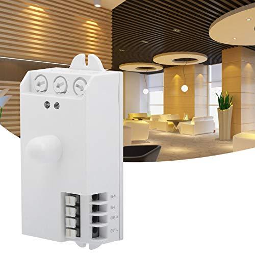 Interruptores de sensor de microondas, interruptor de sensor para iluminación LED de bricolaje, tiempo y distancia ajustable TDL-1913 Sensor de microondas blanco puro5.8GHz AC85-250V
