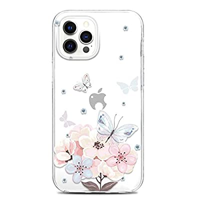 JAHOLAN Clear Case Compatible with iPhone 12, Compatible with iPhone 12 Pro, Cute Design Flexible TPU Bumper Hard Back Cover Phone Case 6.1 inch 2020 Girl Floral Butterfly Flower Pink