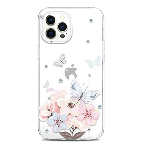 JAHOLAN Clear Case Compatible with iPhone 12 Pro Max Cute Design Flexible TPU Bumper Hard Back Cover Phone Case 6.7 inch 2020 Girl Floral Butterfly Flower Pink
