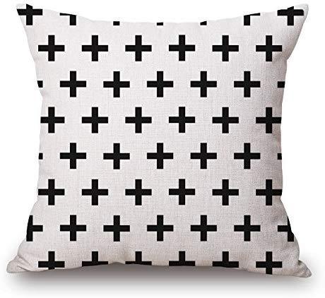 ZHFZD Kussenhoes, vierkant, geometrische druk, zwart en wit, decoratieve trui van katoen voor decoratieve kussenslopen ZHFZD Size Kleur 6