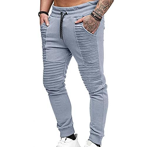 WXZZ Pantalones de chándal plisados para hombre con cordón de algodón | Pantalones de chándal básicos de un solo color para el tiempo libre, fitness, pantalones largos de deporte, gris, M
