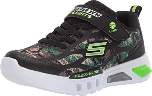 Skechers Flex-Glow, Zapatillas Niños, Negro (Black Synthetic/Textile/Black &Amp; Lime Trim Camo), 33 Eu