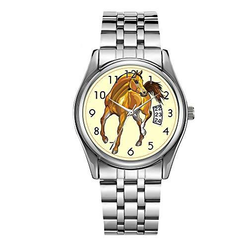 Orologio da uomo di lusso 30 m Impermeabile Data Orologio Maschio Sport Orologi Uomo Quarzo Casual Natale Orologio da Polso Marrone Arabian Horse Watch